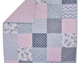 Pink and Gray Baby Quilt // Baby Quilt // Pink Quilt // Homemade Baby Quilt // Baby Girl // Modern Baby Quilt // Baby Blanket