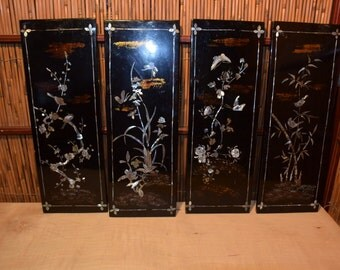 Vintage Vietnamese Lacquer Morther of Pearl Inlaid Set of 4 Paintings of Four Seasons Symbol Plants