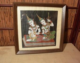 Thai Handpainted On Silk Wood Framed Two Female Musicians
