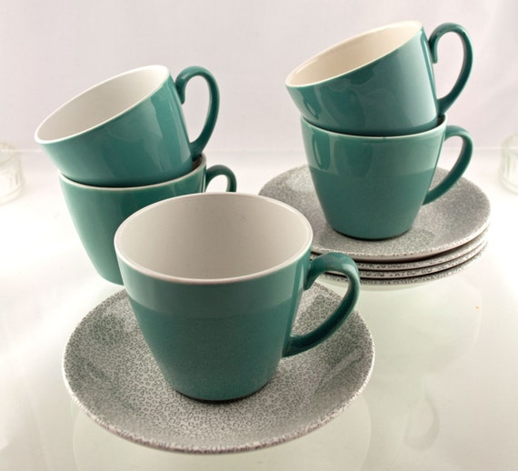 Stylish Vintage Set of Five Alfred Meakin 1970s Cups & Saucers With Rare Abstract Teal And Grey Pasttern