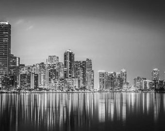 Miami Downtown, Cityscape Of Downtown Miami Florida at Night. Black & White Photography Picture, B And W Prints Framed / Unframed