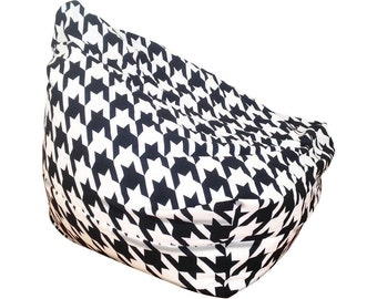 Bean Bag Chair, Kids Room Decor, Houndstooth, Dorm Room Furniture, Large Cushion, Black and White, Monochrome