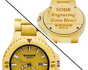 Handcrafted men's wood watch made from 100% natural bamboo wood. FREE custom engraving!