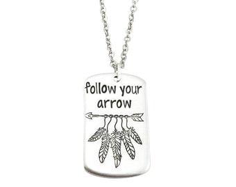 Follow your arrow neckace - arrow necklace - wanderlust necklace - wanderlust jewelry - arrow jewelry - feather jewelry - boho jewelry