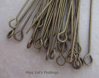 200 antique brass 2 inch eyepins 21 gauge