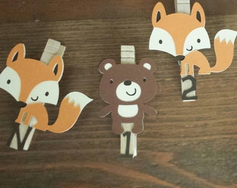Woodland First Birthday,  Fox and Bear Monthly Photo Banner, Woodland Party, Woodland Birthday Party, N-12 Pictures