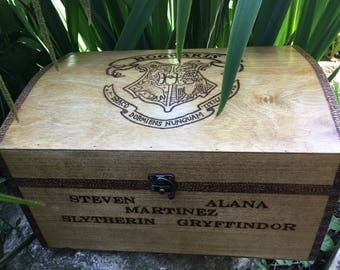Wedding card box, wooden chest can be customised and personalised. Harry Potter inspired, Harry Potter themed wedding.