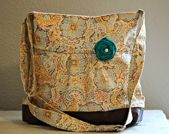 Concealed Carry Purse, Medium Messenger Bag, Fall Paisley, Conceal Carry Handbag, Concealed Carry Purse, Conceal and Carry Teal Orange Brown