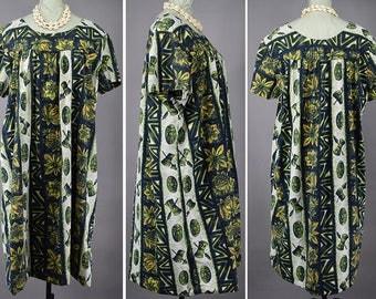 Hawaiian Tiki Luau Vintage 60s Muumuu Tent Dress M L XL