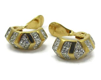 Monet Gold Tone Rhinestone Clip On Earrings High End Fashion Designer Signed Vintage Costume Jewelry Yellow Art Deco 1980