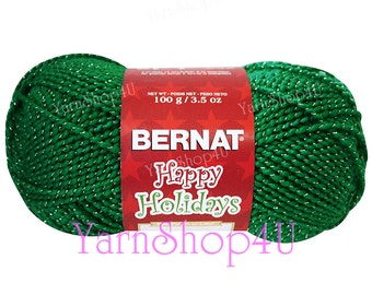 SALE!! GLITTERY GREEN, Green/Silver, Bernat Happy Holidays Christmas Yarn, Green with Silver Metallic threads, 3.5 oz/100g/240 yd ball
