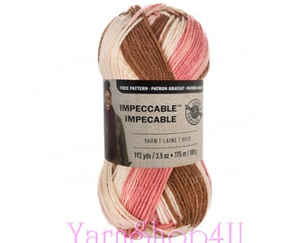 Impeccable NEOPOLITAN Yarn, Planned Pooling Yarn, Acrylic Yarn, Pink Brown Cream, 3.5 ounce, Medium 4 Worsted Weight, Pink brown ombre