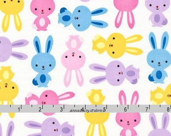 Easter Bunny Fabric, Ann Kelle, Robert Kaufman 14721 192 Spring, Urban Zoologie, Rabbit Quilt Fabric, Pink, Yellow, Purple, Blue, Cotton