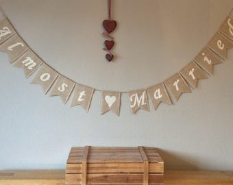 Rehersal Dinner Wedding Engagement Almost  Married Bunting Banner Hessian Burlap