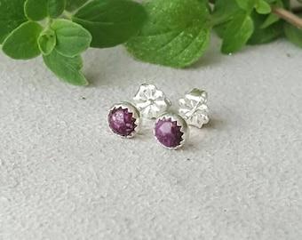 Purple spiny oyster earrings, 5 mm, purple stud earrings,  spiny oyster, spiny oyster studs, purple  studs, gemstone earrings