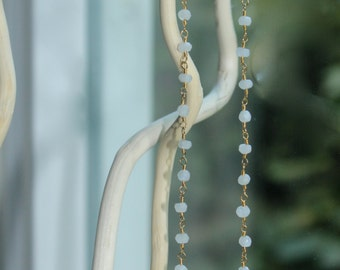 Necklace, Beaded Necklace, Moonstone Beaded Necklace, Charming Necklace, Gold Plated, Rosary Chain Bean, Gold Side Cross