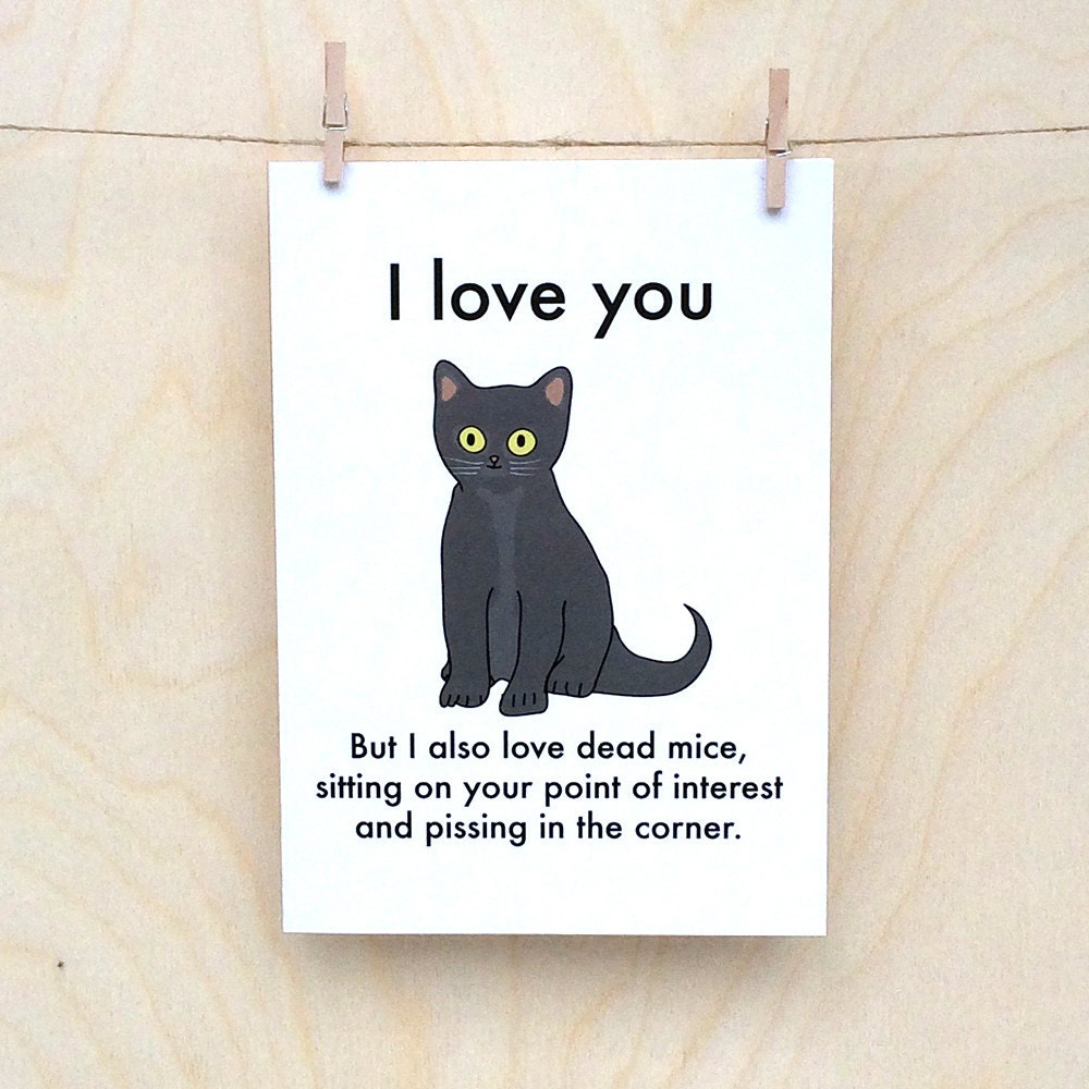 I love You Cat Card Funny valentines card funny love card funny