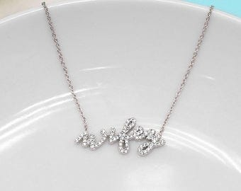 Wedding Necklace, Wifey cubic zirconia necklace, wedding jewelry, bridal jewelry, wedding pendant, bridal necklace, wifey necklace 498749092