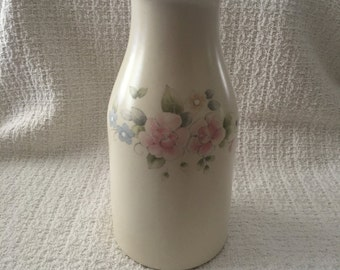 Pfaltzgraff Milk Bottle Vase, Pfaltzgraff Tea Rose Pattern, Tea Rose Milk Bottle, Tea Rose Vase, 1980s, Pfaltzgraff Stoneware Vase
