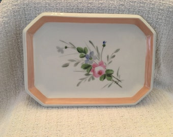 Floral Porcelain Vanity Tray, Floral Serving Tray, Floral Cosmetics Tray, Dresser Tray, Trinket Tray, Peach Trim, Ladies Decorative Tray