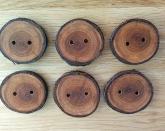 6 Handmade Cherry Wooden Buttons 40mm Tree Branch Buttons Sewing Knitting Craft