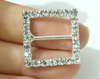 2 crystal buckle slider square rhinestone diamante glass connector link clasp cluster sewing JRTBA020SQB