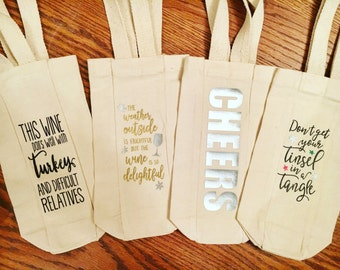 This Wine Pairs Well with Turkey and Difficult Relatives // Wine Gift Bag  // Thanksgiving Gift // Funny Wine Gift  // Hostess Gift