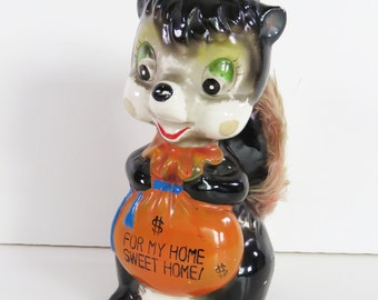 Vintage 1960s skunk moneybox - For My Home Sweet Home - ceramic