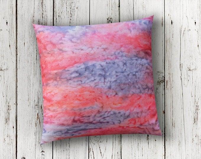 Tropical Pillow-18x18 Pillow Cover-Watercolor Silk Pillow-Home Decor Gifts-Boho Decor-Coral Pillow-Christmas Gift-Watercolor Home Decor
