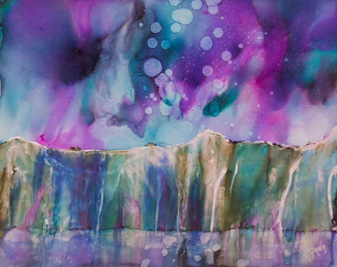 Celestial Watercolor-Northern Lights Art-Mystical Decor-Purple Decor-Teal Wall Art-Alcohol Ink Art-Home Decor Gifts-Watercolor Home Decor