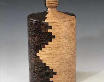 Lidded Container or Box, Mesquite and Wenge, Segmented Woodturning, Wood