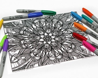 Mandala coloring, drawing #6435 printed on cardboard, coloring of relaxation, Fleur