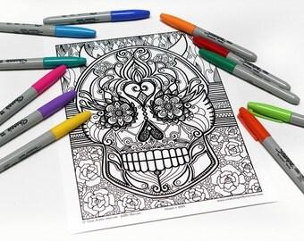 Mandala coloring, drawing #9166 printed on cardboard, relaxation coloring, sugar skulls, skull
