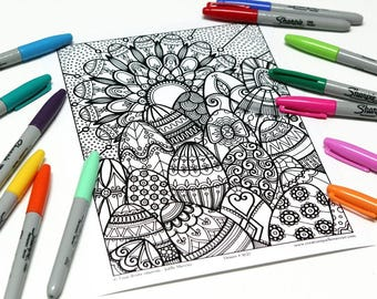 Mandala coloring, drawing #9137 printed on cardboard, relaxation coloring Easter eggs