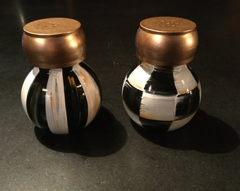 Black and white hand painted salt and pepper shakers