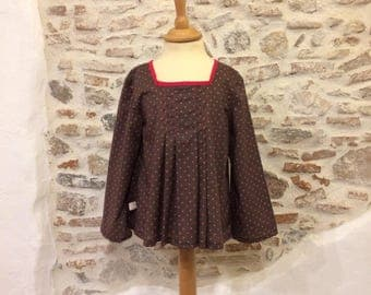 Brown blouse with polka dots fuchsia T:6 years