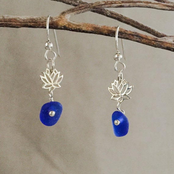 genuine santa cruz sea glass cobalt blue earrings with sterling lotus blossom and sterling ear wires