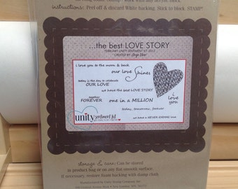 The best LOVE STORY Unity Stamp Company red rubber unmounted cling stamp set Unused