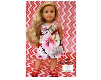 Made a statement with 18 inch doll dress clothes pattern, American Girl Madame Alexander pdf Sewing Pattern one pattern 5 different looks