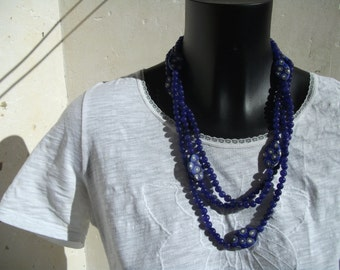 Beautiful necklace of sapphires and Millefiori.