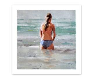 fine art print, swimmer painting, fine art print, swimming poster, print from original acrylic painting, small print, 8x8 print