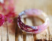 Pink Mermaid Ring, Ocean Resin Ring, Crystal Ring, Pink Tourmaline Ring, Real Sea Sponge Ring, Bridesmaids Gift, Engagement Nature Ring