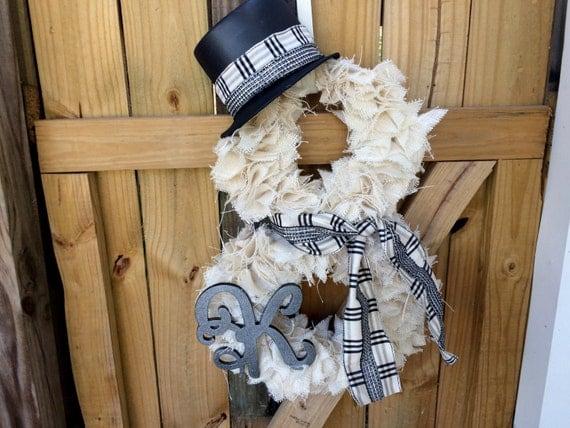 White Burlap Snowman Wreath Winter Wreathfront Door Wreath