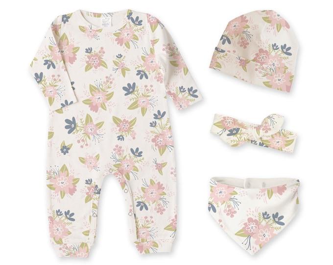 Newborn Girl Coming Home Outfit, Newborn Girl Outfit, Baby Girl Romper, Baby Girl Headband, Baby Girl Beanie, Baby Girl Bib, TesaBabe