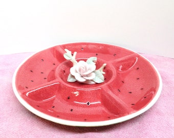 "SONOMA WATERMELON PLATTER is a Vintage Large 13"" Round Glazed Red & Green Stoneware Divided Serving Tray or Platter by Sonoma Life+Style"
