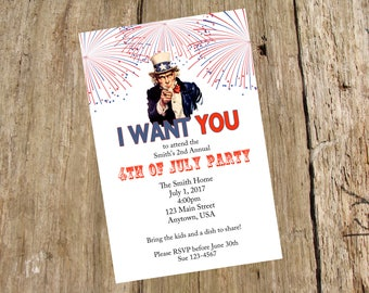 4th of July Party Invitation, DIY printable digital file