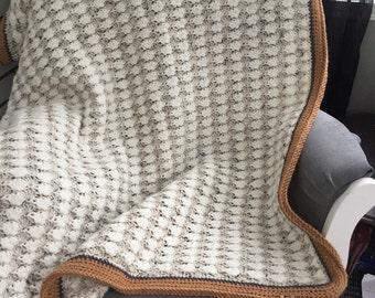 Chamois beige wool blanket - beige/buff wool crochet blanket