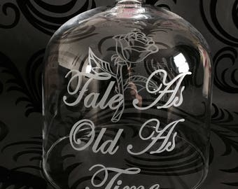 STUNNING Disney Beauty & The Beast Bell Jar Glass Dome Hand Engraved With Rose And Words Of Your Choice!