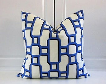 Decorative Pillow Cover- Hyacinth Blue-Mandarin Geometric