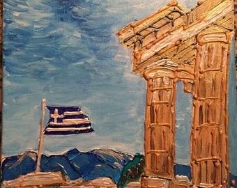 Acropolis & Greek Flag, Athens -  Greece